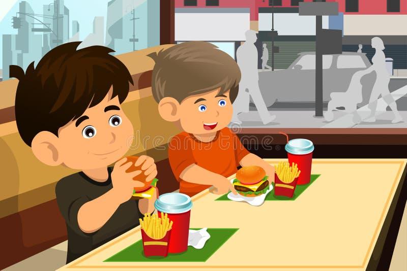 Kids eating hamburger and fries vector illustration