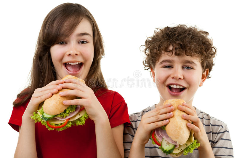 Download Kids Eating Healthy Sandwiches Stock Image - Image: 10762261