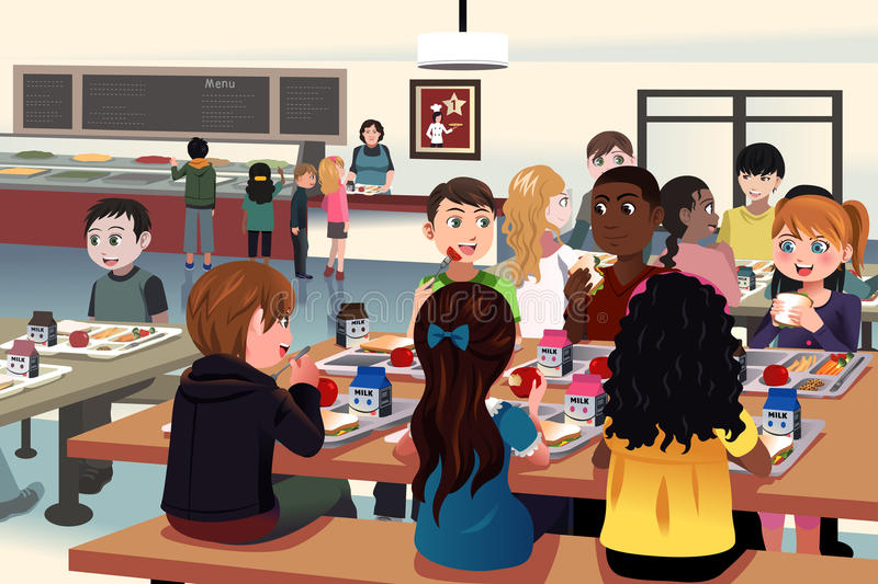 Kids eating at the school cafeteria vector illustration