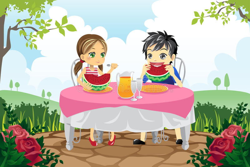 Download Kids Eating Watermelon In A Park Stock Vector - Image: 24940256