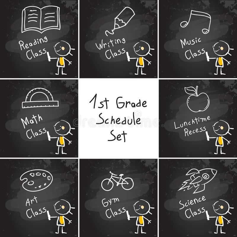 Kids Education schedule set stock illustration