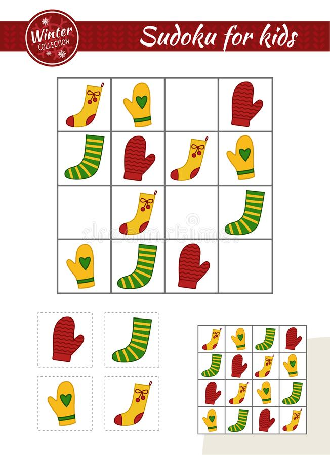 Kids educational game. Sudoku game for children with pictures. Kids activity sheet. Christmas collection. Knitted socks and mittens