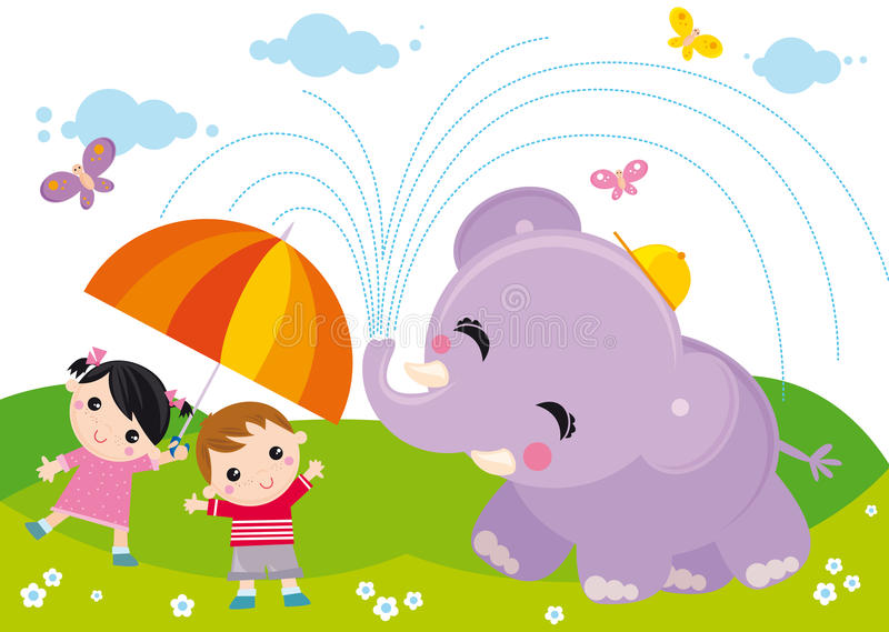 Kids and elephant. Illustration of two kids with umbrella and elephant