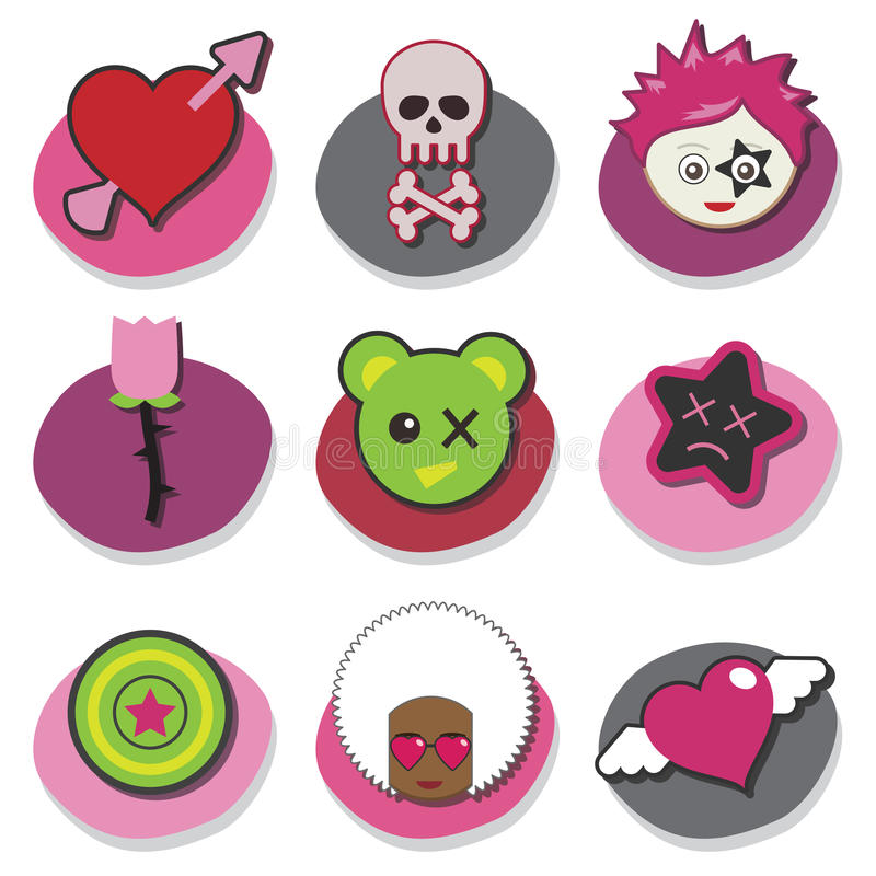 Download Kids emo icons stock vector. Illustration of element - 11063171