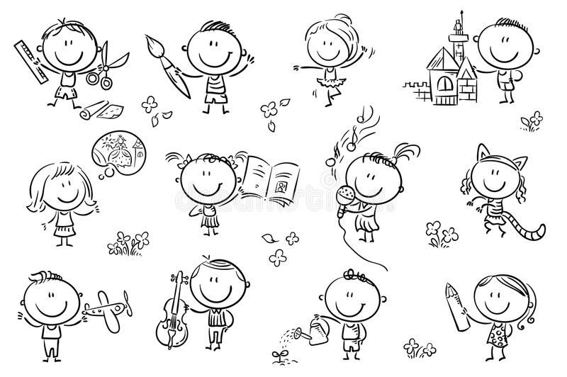 Kids engaged in different creative activities stock illustration