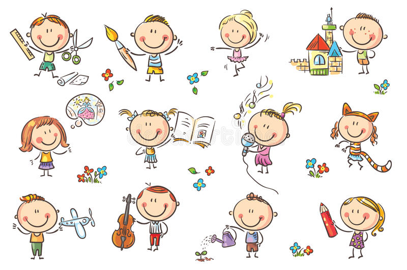 Kids engaged in different creative activities royalty free illustration