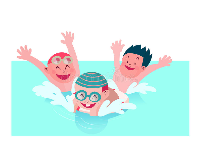 Kids enjoy playing together in swimming pool vector illustration. Group of kids enjoy playing together in swimming pool vector illustration stock illustration