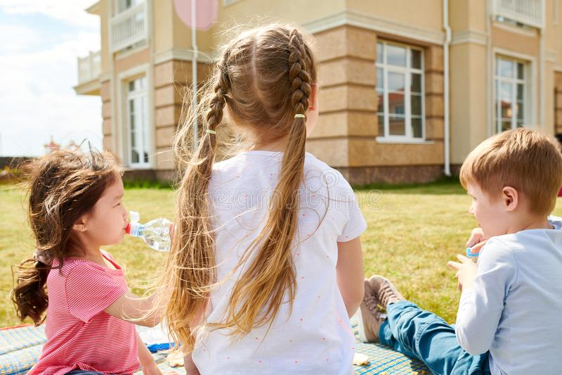 Kids Enjoying Picnic on Lawn Back View stock photo