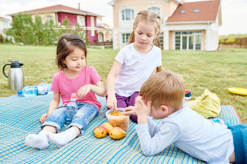 Kids Enjoying Picnic Outdoors royalty free stock photography