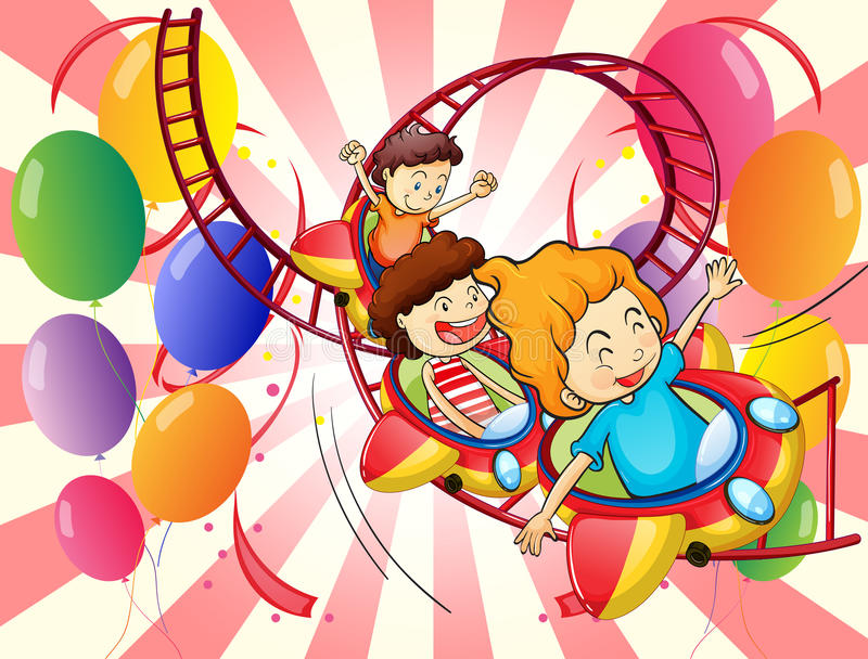 Kids enjoying the roller coaster ride royalty free illustration