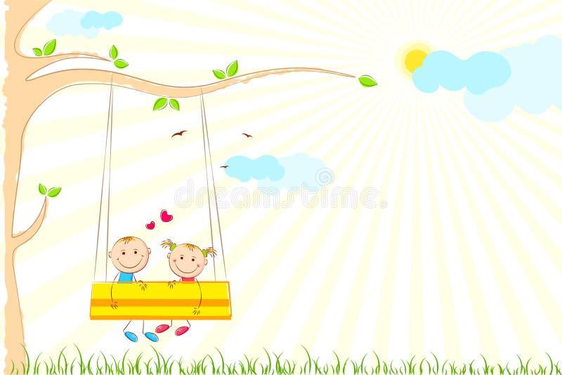 Download Kids enjoying Swing Ride stock vector. Image of enjoying - 20423782