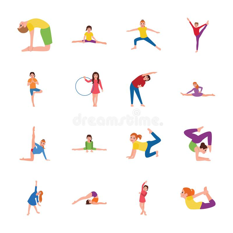 Kids Exercise and Gymnastic Flat Icons Pack Kids Gymnastic Flat Icons Pack royalty free illustration