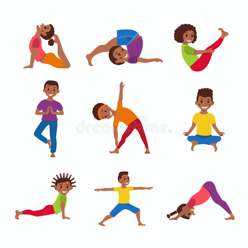 cute cartoon gymnastics for children and healthy lifestyle sport illustration vector concept happy african kids exercise poses and yoga asana set for - Exercise Pictures For Kids