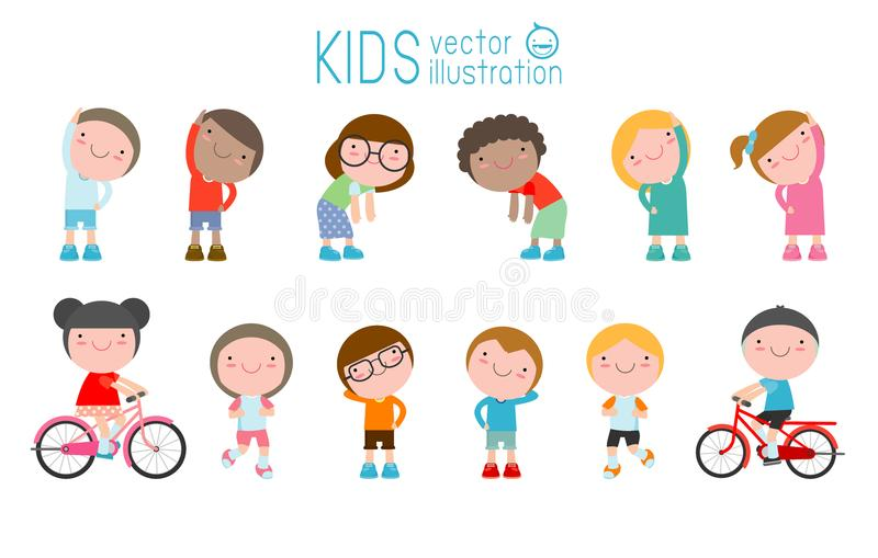 Kids exercising, children stretching ,child exercising , happy Kids Exercising, flat cute cartoon design vector illustration.  royalty free illustration