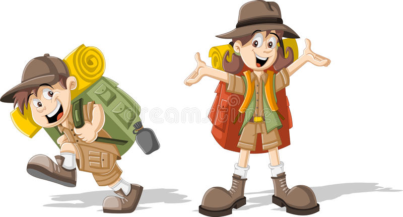 Kids in explorer outfit. Cute cartoon kids in explorer outfit royalty free illustration