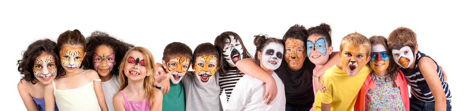 Kids with face-paint royalty free stock image