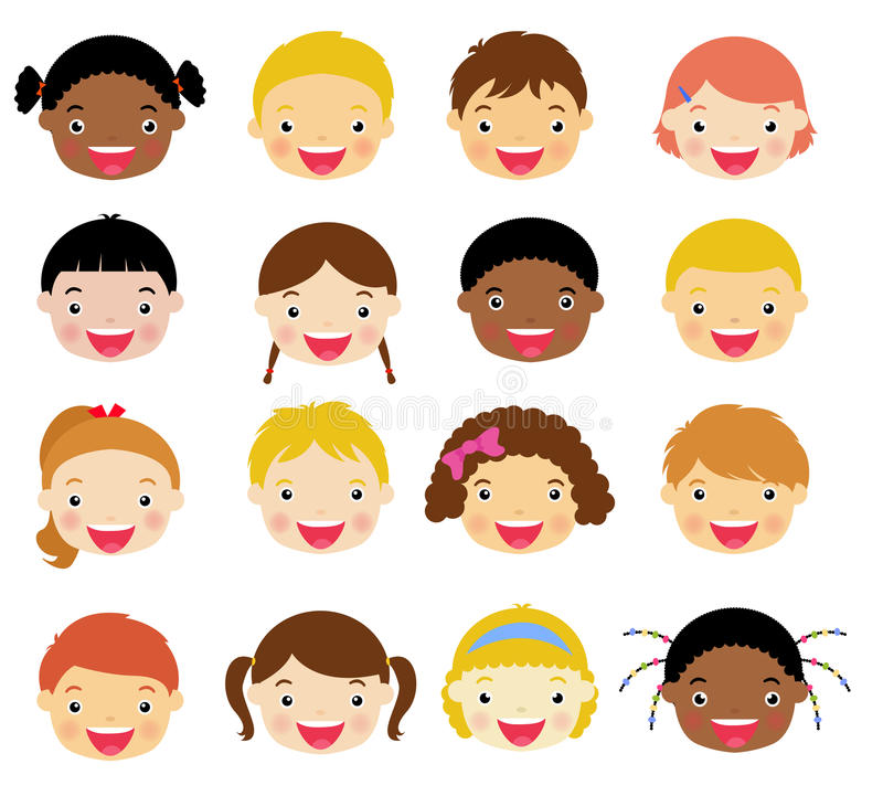 Kids face set royalty free illustration