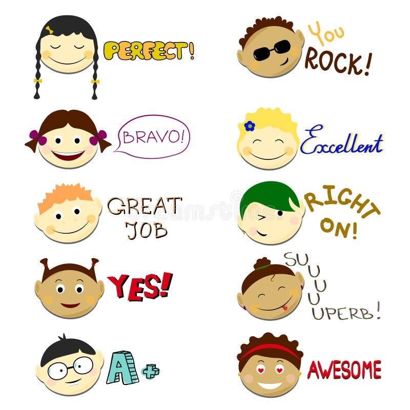 Kids face set vector illustration. Vector Achievement school Labels. Emoji portraits with various emotions hairstyle. Kids smile faces set vector illustration stock illustration