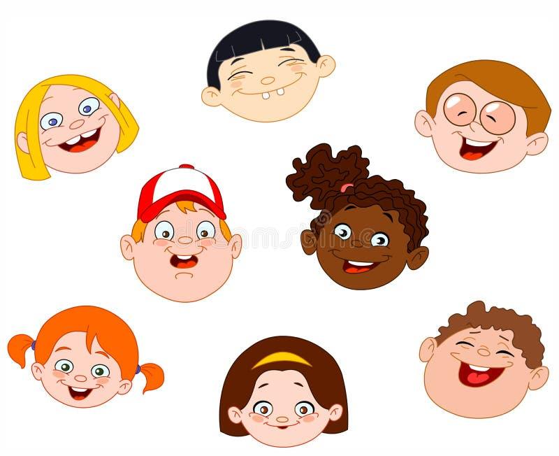 Kids faces vector illustration
