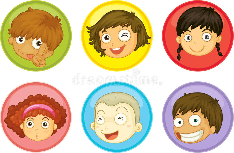 Kids faces. Illustration of a kids faces on a white background