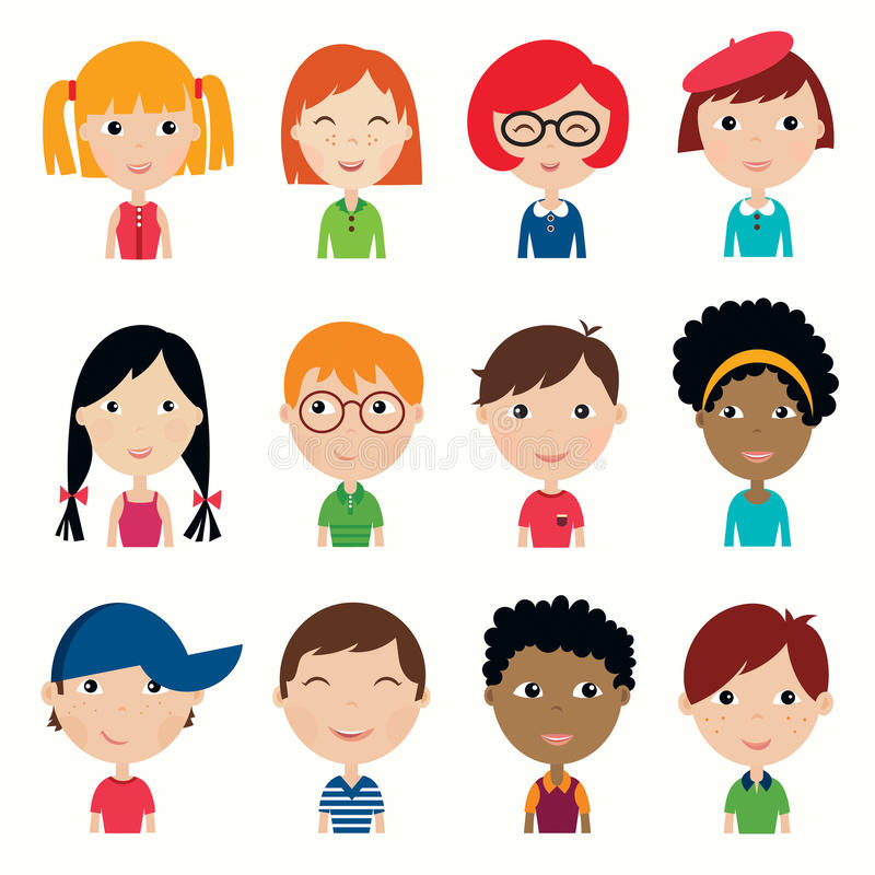 Kids faces collection vector illustration