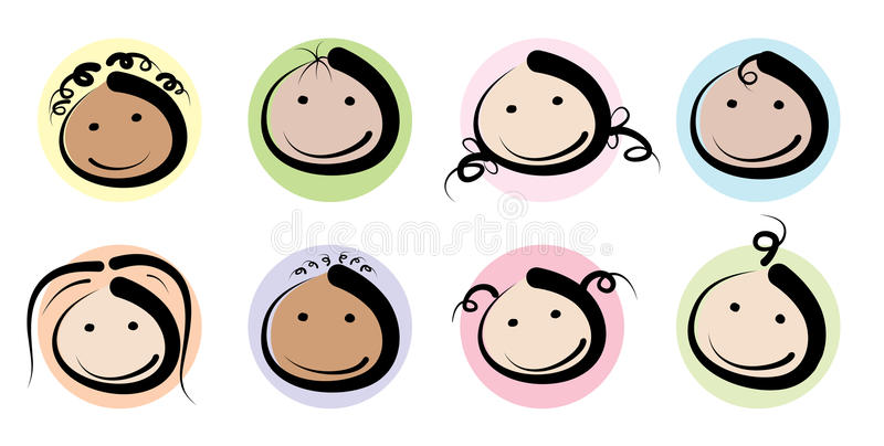 Kids faces icons royalty free illustration