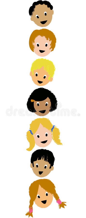 Kids Faces Vertical/ai. Crayon-type illustration of seven children's faces in a vertical format. eps available. other illustrations with similar kids also in my