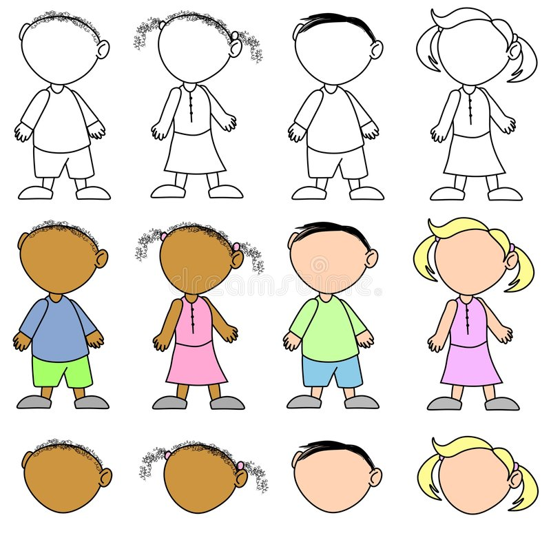 Kids Without Facial Expressions royalty free stock photos