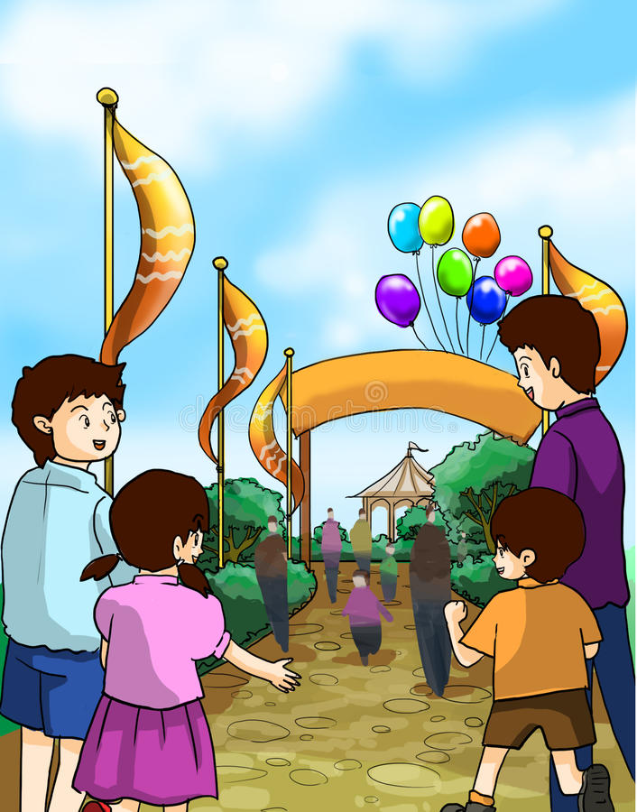 Kids and families go to a fun fair vector illustration