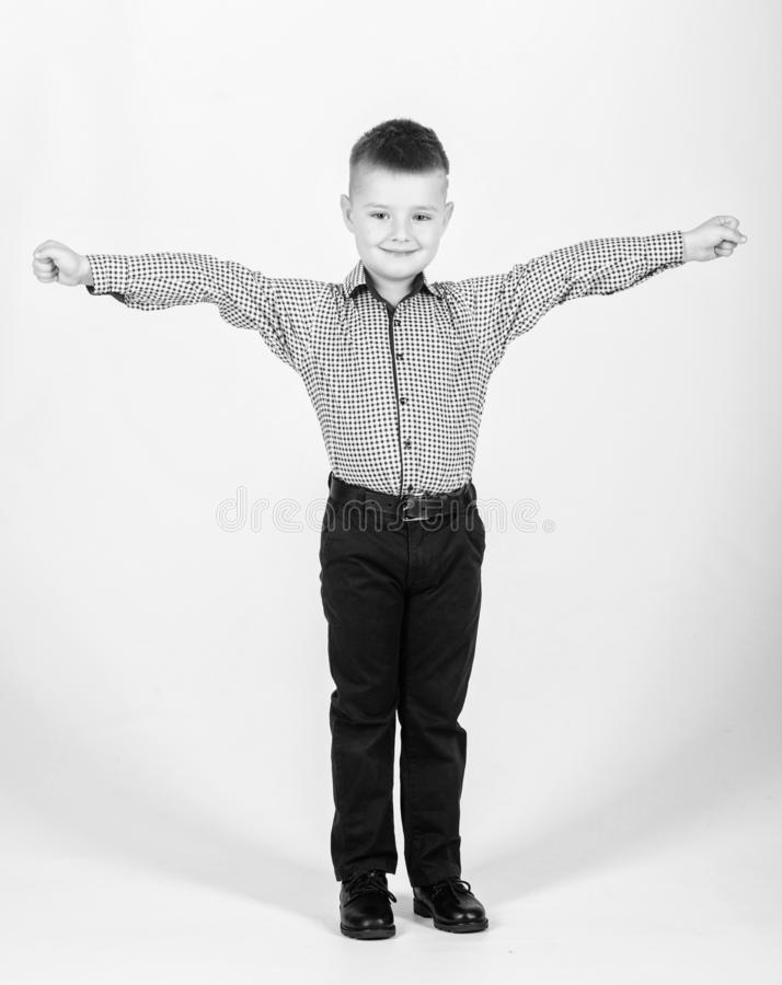 Kids fashion. Small businessman. Business school. Confident boy. Upbringing and development. Little boy wear formal royalty free stock images