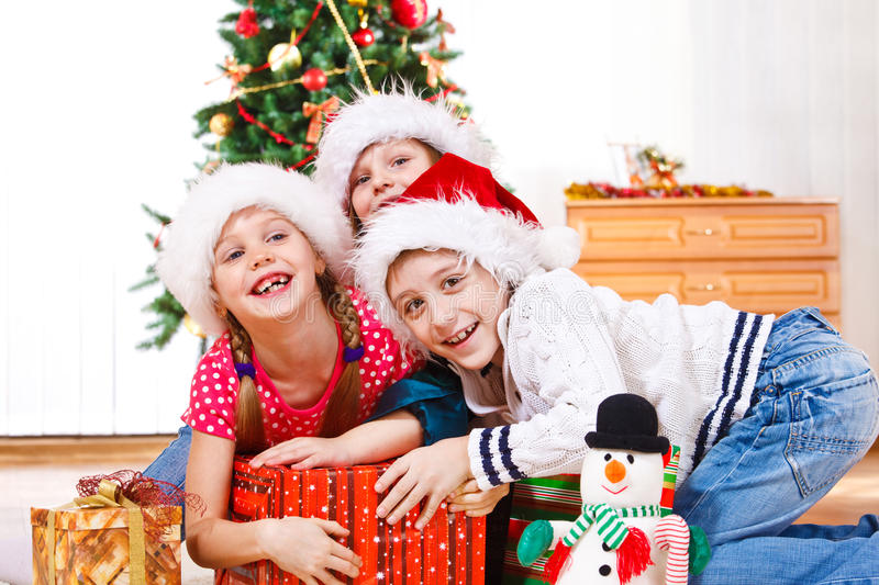 Download Kids fighting for presents stock photo. Image of home - 21927360