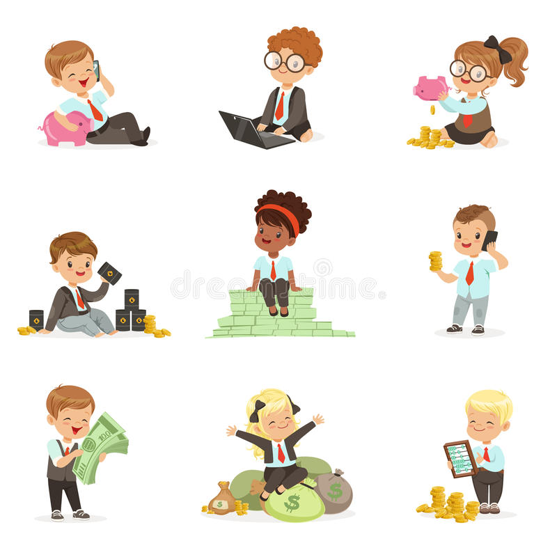 Kids In Financial Business Set Of Cute Boys And Girls Working As Businessman Dealing With Big Money stock illustration