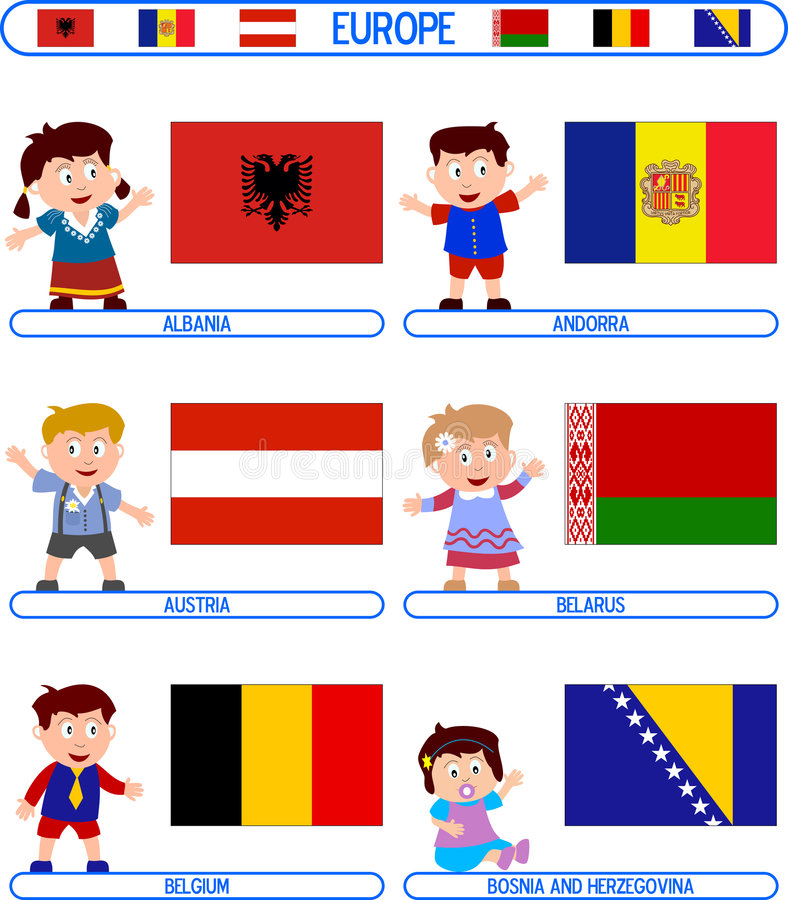 Kids & Flags - Europe [1]. Kids & Flags Series – Europe (8 illustrations in all): Albania, Andorra, Austria, Belarus, Belgium, Bosnia and Herzegovina vector illustration