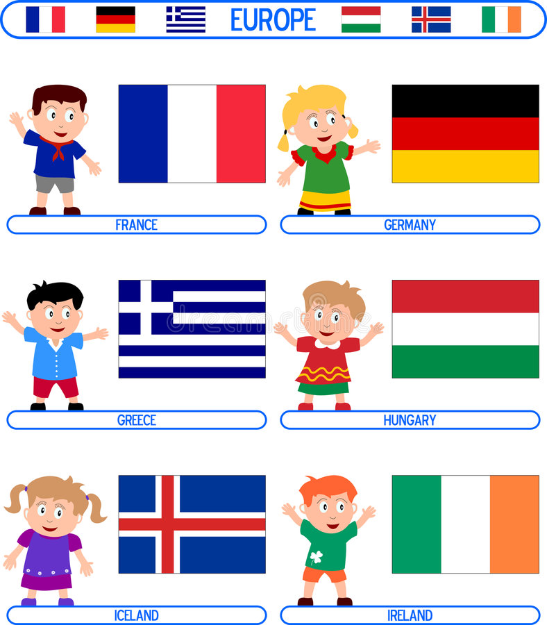 Kids & Flags - Europe [3]. Kids & Flags Series – Europe (8 illustrations in all): France, Germany, Greece, Hungary, Iceland, Ireland. Each flag (computer stock illustration