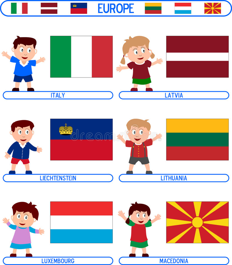 Kids & Flags - Europe [4] Royalty Free Stock Image