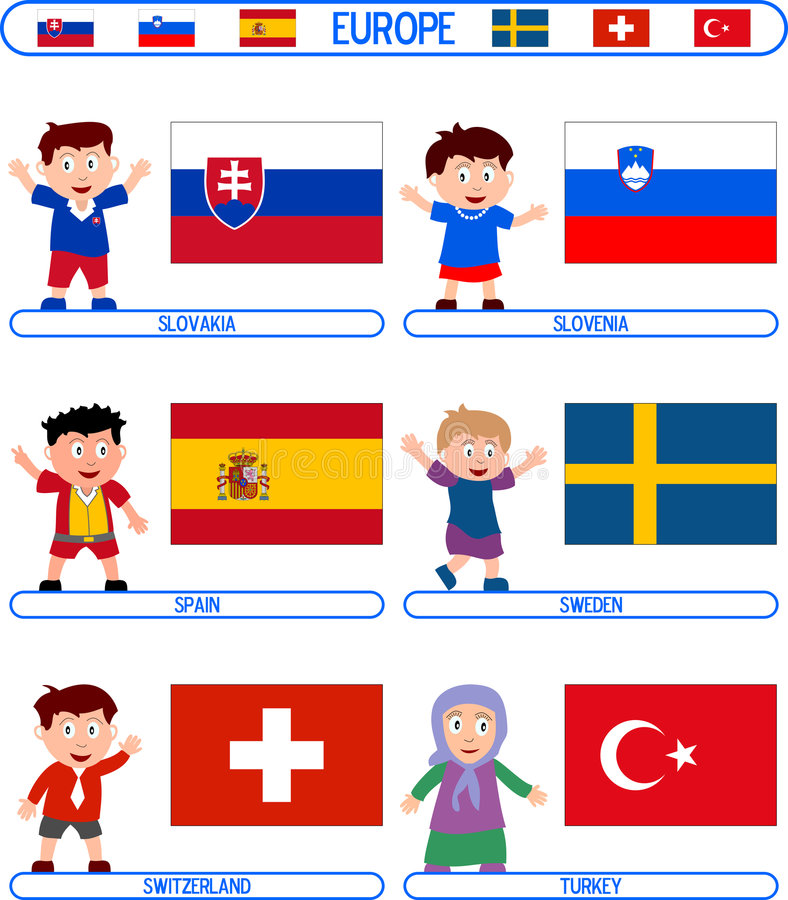 Kids & Flags - Europe [7]. Kids & Flags Series – Europe (8 illustrations in all): Slovakia, Slovenia, Spain, Sweden, Switzerland, Turkey. Each flag ( royalty free illustration