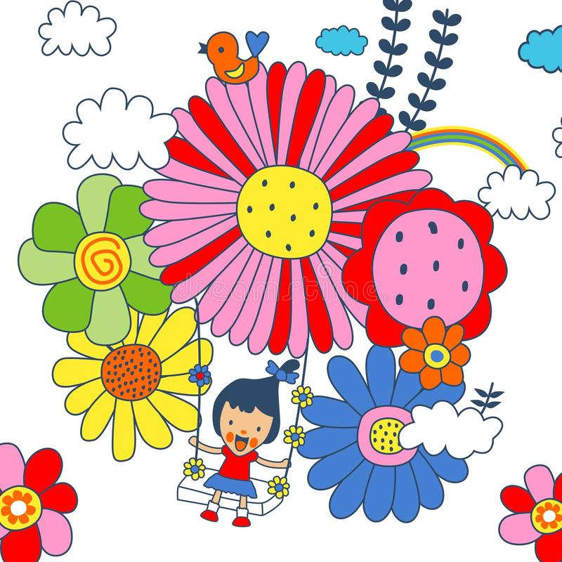 Kids flower stock illustration