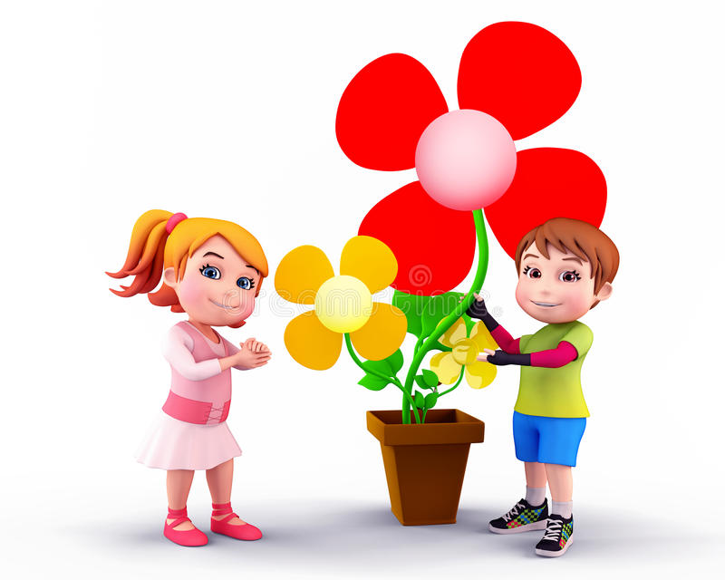Download Kids with flowers stock illustration. Illustration of flying - 24523124