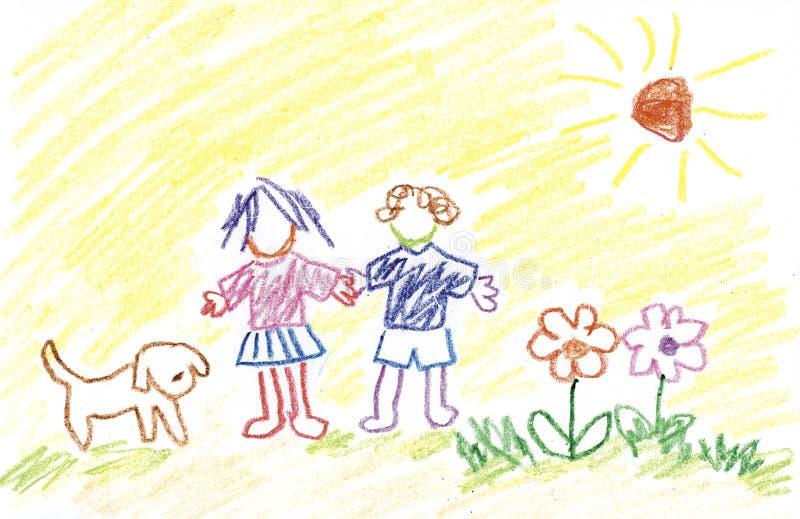 Kids, Flowers, Dog and Sunshine vector illustration