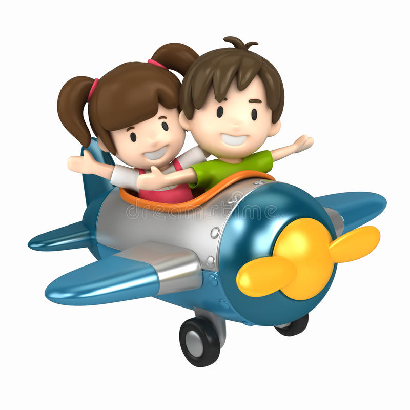 Kids flying an airplane royalty free illustration