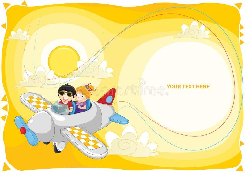 Kids flying by plane vector illustration. EPS 8 royalty free illustration