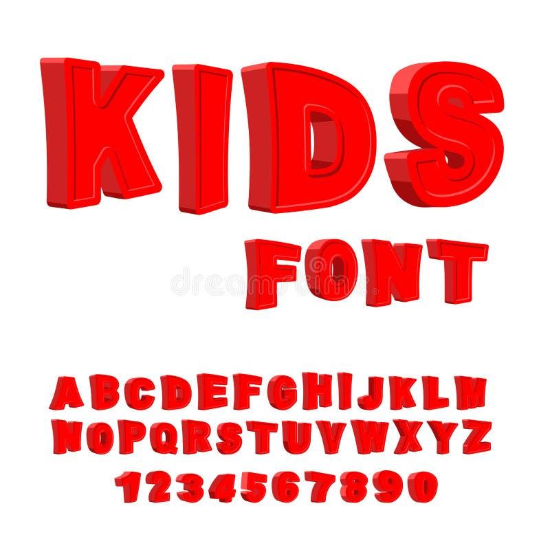 Kids font. 3D letters. Alphabet for children. Red Funny ABC for royalty free illustration