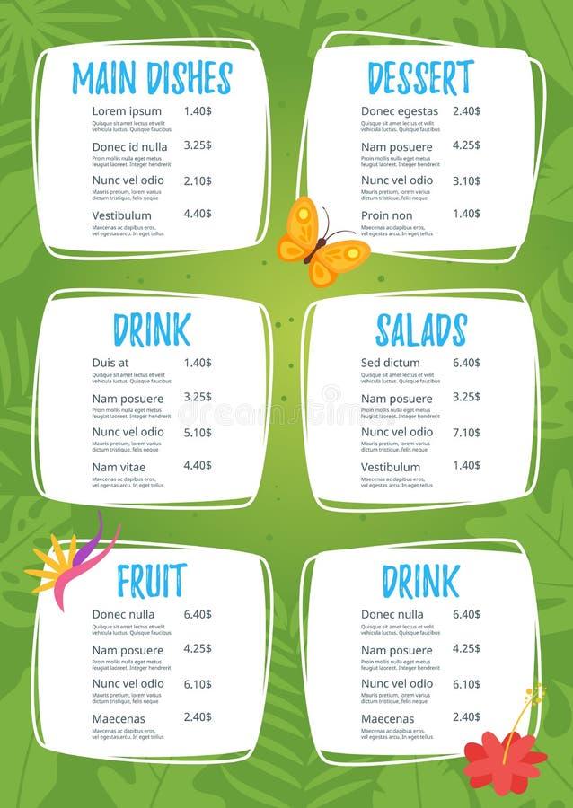 Kids food menu design template. On green jungle rainforest background stock illustration