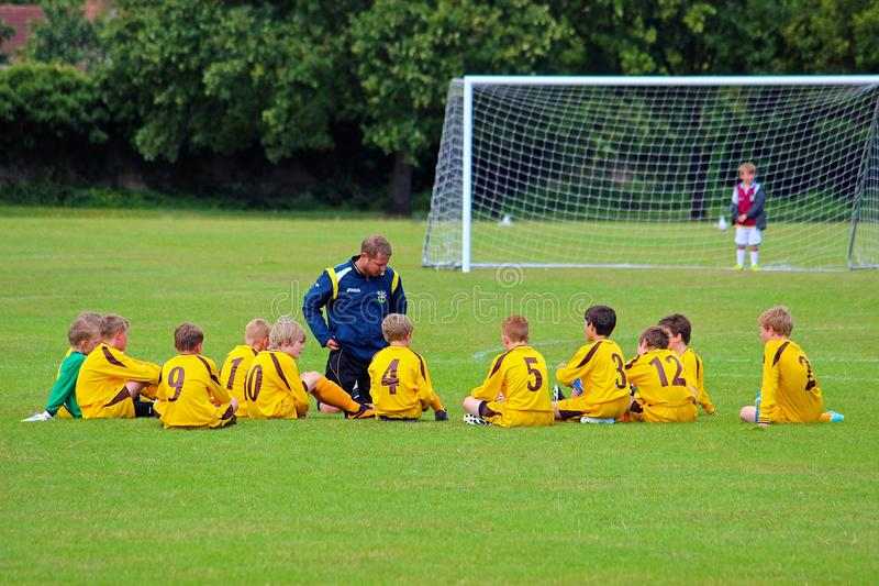 Kids' Football meeting before the game royalty free stock photography
