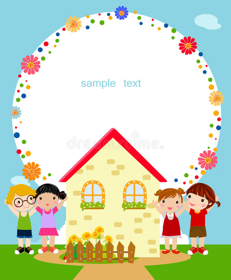 Download Kids and frame stock vector. Image of children, blue - 18524777