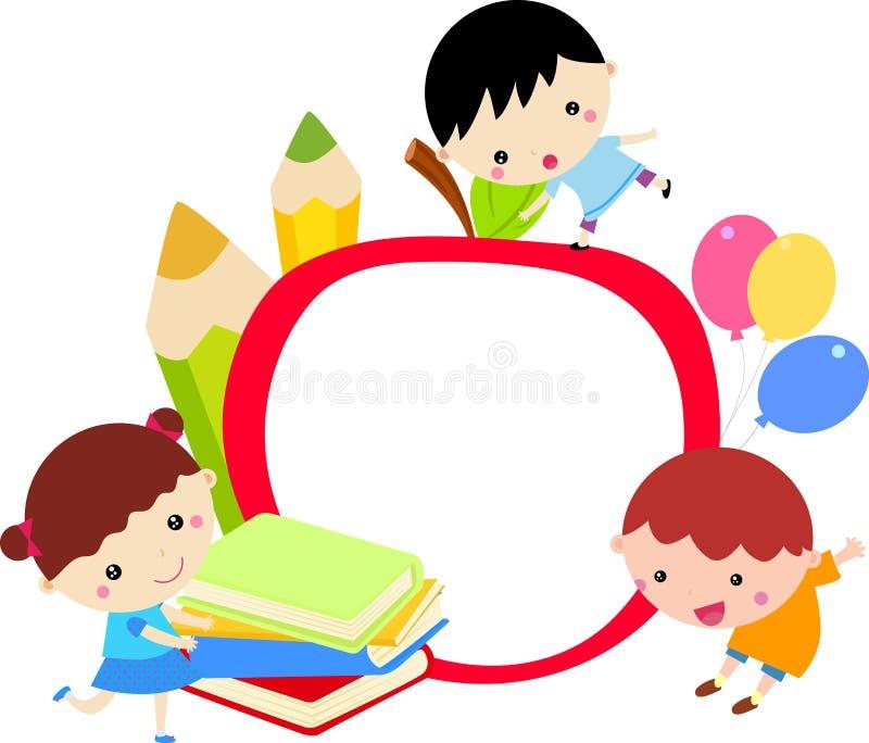 Kids and frame vector illustration