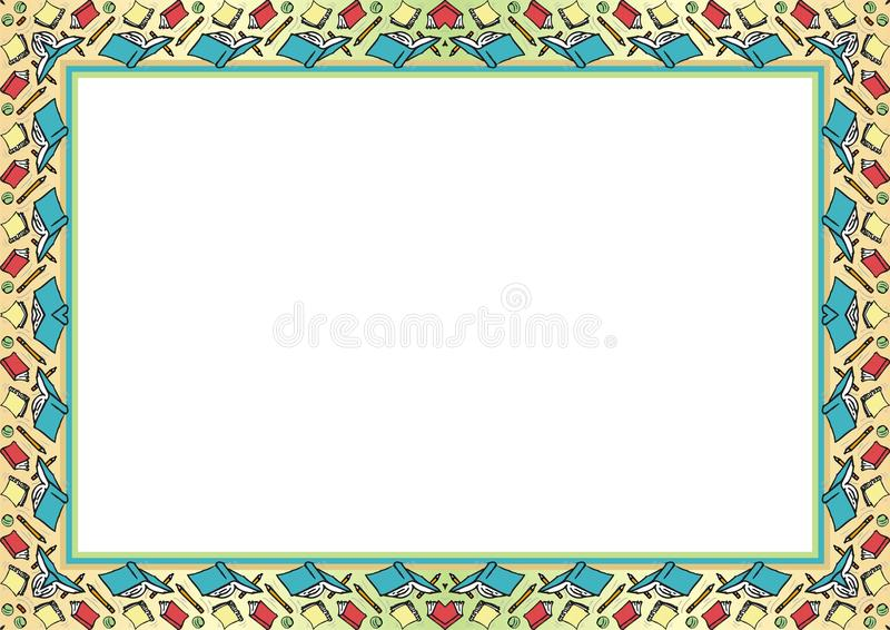 Kids Frame - Border with made from cartoon of arrangement Book, pencil and ball royalty free illustration
