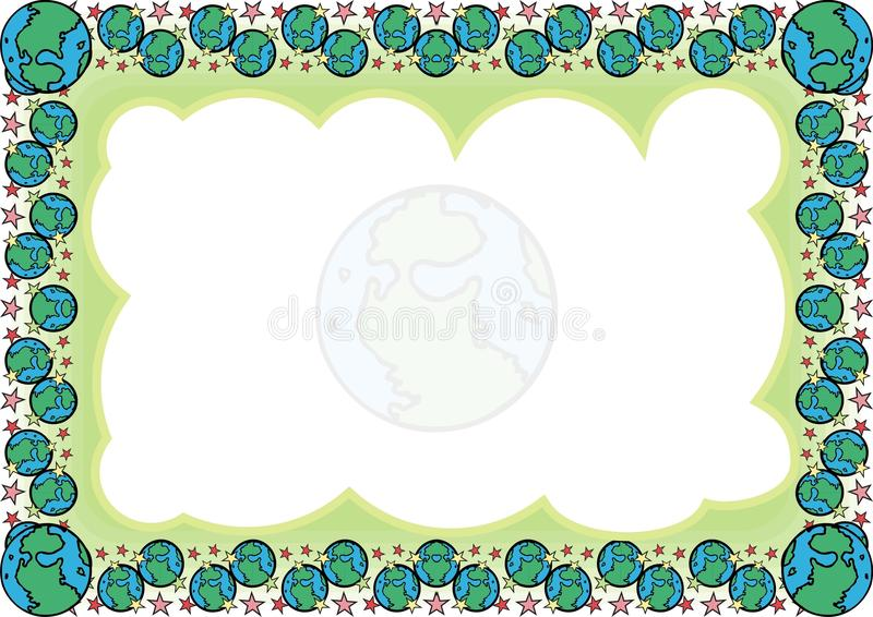 Kids Frame - Border with made from cartoon of globe stock photography