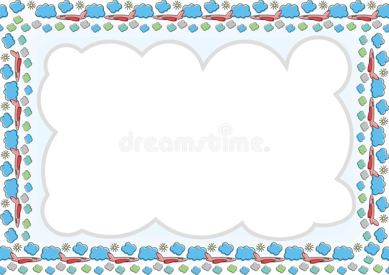 Kids Frame - Border with made from cloud, airplane and sun royalty free illustration