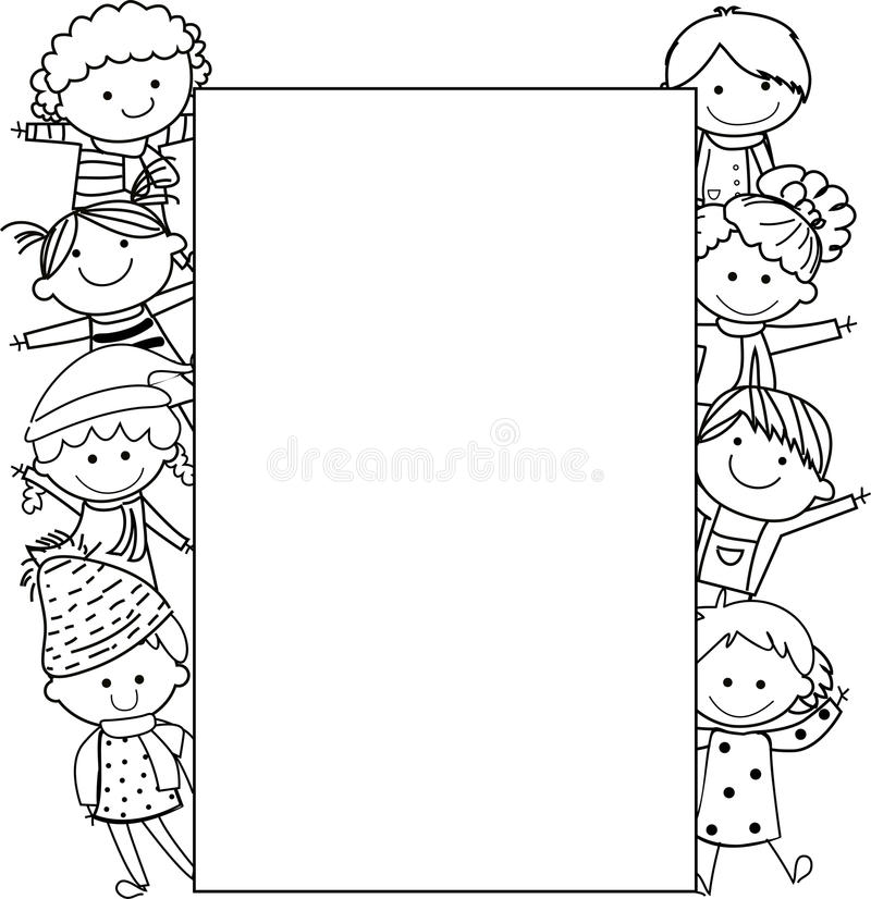 Kids and frame stock vector. Illustration of drawing - 43237296